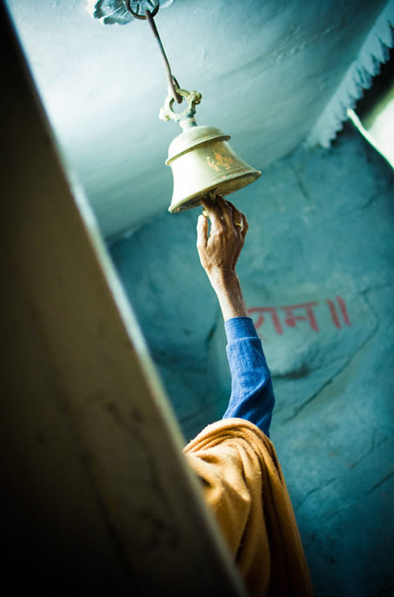 bell ringer at the World Peace Puja in Rishikesh